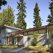 Metal siding in two profiles creates a visual architecture, cottage, facade, farmhouse, home, house, landscape, property, real estate, roof, tree, brown