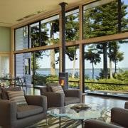 Finished ipê floors and Douglas fir window and door, home, interior design, living room, real estate, window, brown
