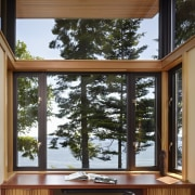 Two study spaces project out from the walls architecture, daylighting, home, house, interior design, sash window, window, wood, brown, black
