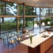 Transparent modern new home - Transparent modern new interior design, living room, real estate, table, window, brown