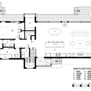 Plan of contemporary new waterfront house designed by area, black and white, design, diagram, drawing, floor plan, font, line, plan, product design, technical drawing, text, white