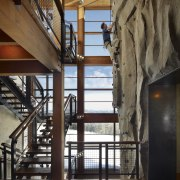 Going up? A climbing wall in this house architecture, beam, ceiling, home, interior design, lobby, stairs, structure, black, brown