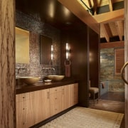 Doors to this bathroom in a mountain house bathroom, cabinetry, ceiling, home, interior design, room, wall, wood, brown