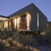 Minimalist desert new house - Minimalist desert new architecture, building, cottage, facade, home, house, landscape, lighting, property, real estate, sky, window, black, blue
