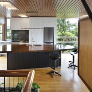 An existing cross-braced plywood cabinet beside the dining architecture, house, interior design, real estate, wood, brown