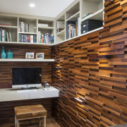 The pantry and office in this kitchen are floor, flooring, furniture, hardwood, interior design, living room, wall, wood, wood flooring, brown