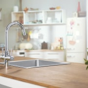 Filtered water in recommnded for cooking by master countertop, interior design, kitchen, room, sink, small appliance, tap, white, gray