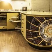 Nicola Cumming Design black and butterscotch kitchen floor, flooring, furniture, table, orange, brown