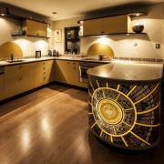 Nicola Cumming Design black and butterscotch kitchen floor, flooring, interior design, kitchen, room, wood, brown, black, orange