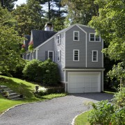 This Cape Cod-style residence was built in 1768, architecture, backyard, cottage, driveway, estate, facade, farmhouse, home, house, landscape, landscaping, lawn, neighbourhood, property, real estate, residential area, siding, suburb, tree, yard, gray