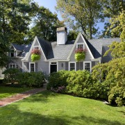 This Cape Cod-style residence was built in 1768, cottage, estate, farmhouse, garden, grass, home, house, landscape, landscaping, lawn, mansion, plant, plantation, property, real estate, residential area, suburb, tree, yard, brown