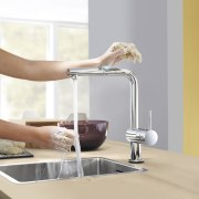 Grohe Minta Touch mixers stay clean when hands furniture, plumbing fixture, product design, sink, small appliance, table, tap, white, gray