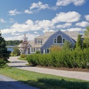 US2908  40509~~~Cape Codtraditional housetraditional homeshingle stylegambrel roofwaterfrontcedar cloud, cottage, estate, facade, farmhouse, garden, grass, home, house, land lot, landscape, mansion, plant, property, real estate, residential area, sky, suburb, tree