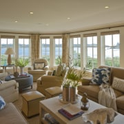 A band of windows optimises solar penetration and estate, home, interior design, living room, property, real estate, room, window, brown, gray