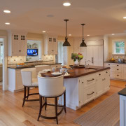 A traditional paneled kitchen was an appropriate inclusion cabinetry, countertop, cuisine classique, hardwood, home, interior design, kitchen, real estate, room, wood flooring, orange, brown, gray