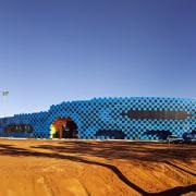 Desert storm  Wanangkura Stadium by ARM Architecture architecture, blue, daytime, landmark, sky, sport venue, structure, teal