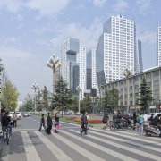 Raffles City Chengdu by Steven Holl Architects - building, city, daytime, downtown, infrastructure, lane, metropolis, metropolitan area, mixed use, neighbourhood, pedestrian, plaza, recreation, road, sky, skyscraper, street, tower block, town square, tree, urban area, urban design, vehicle, teal, gray