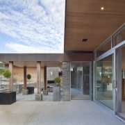 The use of schist for the retaining walls apartment, architecture, daylighting, house, real estate, gray