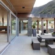 Patio of transparent contemporary new home - Patio architecture, house, interior design, real estate, gray