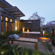 Loungers on this new terrace ensure the owners architecture, backyard, courtyard, estate, home, house, landscape, landscape lighting, landscaping, lighting, property, real estate, residential area, villa, black