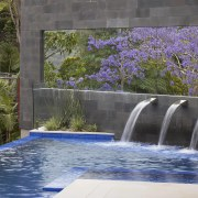 Contemporary outdoor area with infinity edge swimming pool leisure, plant, property, real estate, reflection, swimming pool, tree, water, water feature, water resources, watercourse, gray