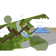Contemporary outdoor area with infinity edge swimming pool area, diagram, map, plan, product design, urban design, water resources, white