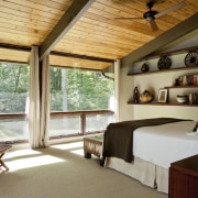 atures full-height glazing. The bedroom opens directly to architecture, ceiling, estate, house, interior design, real estate, room, window, wood, brown, gray