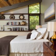 This master bedroom is in a post-and-beam house bed, bed frame, bedroom, ceiling, furniture, home, interior design, room, wall, wood, brown, gray