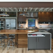 Simple cabinet frames, an efficient use of space cabinetry, countertop, hardwood, interior design, kitchen, brown, black