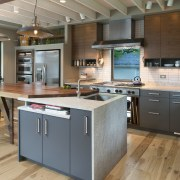 Simple cabinet frames, an efficient use of space cabinetry, countertop, hardwood, interior design, kitchen, gray, brown