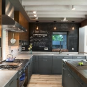 Simple cabinet frames, an efficient use of space cabinetry, countertop, cuisine classique, hardwood, interior design, kitchen, wood flooring, gray, black