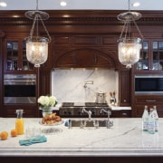 A large addition has increased the size of countertop, cuisine classique, furniture, home, interior design, kitchen, room, red