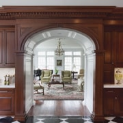 A large addition has increased the size of cabinetry, ceiling, countertop, cuisine classique, door, estate, home, interior design, kitchen, window, red, gray