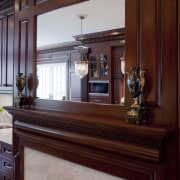 Now you see it, now you dont. A cabinetry, countertop, furniture, home, interior design, wood, red, gray