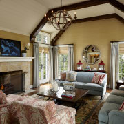 On this remodel project by Burns & Beyerl ceiling, estate, home, interior design, living room, real estate, room, brown