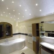 LED Beriel crystal lights create a glamorous, starry bathroom, ceiling, floor, interior design, lighting, real estate, room, gray