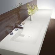 Laminex Solid Surfaces are a cost-effective option for angle, bathroom sink, coffee table, floor, furniture, product design, sink, table, tap, wood, white, gray, brown