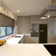 This new kitchen designed by Colleen Holder features ceiling, interior design, kitchen, real estate, room, white