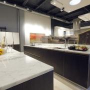 Cinetica cabinety designed by Yaarit Sharoni of ODA countertop, interior design, kitchen, gray, black
