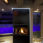 Contemporary outdoor entertaining area - Contemporary outdoor entertaining architecture, ceiling, fireplace, hearth, home, interior design, lighting, black