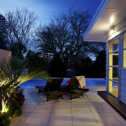 Plants were chosen to soften this new pool architecture, backyard, estate, home, house, interior design, landscape lighting, lighting, outdoor structure, property, real estate, residential area, sky, tree, black
