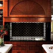 A sunburst pattern created by piecing together wood cabinetry, fireplace, furniture, hearth, interior design, wall, wood stain, red