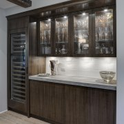 In this kitchen remodel by Doug Durbin, the cabinetry, countertop, interior design, kitchen, gray, black