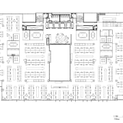 A multifaceted facade behind the reception desk of architecture, area, black and white, design, diagram, drawing, elevation, floor plan, font, line, line art, plan, product, product design, schematic, square, structure, technical drawing, text, white