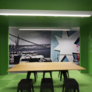Bold, bright and with several surprise elements, the architecture, ceiling, green, interior design, table, green