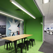 Bold, bright and with several surprise elements, the architecture, ceiling, interior design, office, product design, gray, green