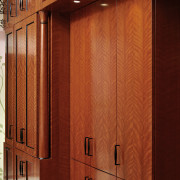 Close-up of quarter-figured cherry cabinatry with Rosewood finish. architecture, cabinetry, door, furniture, hardwood, interior design, wall, wood, wood stain, red