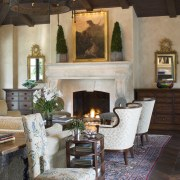 Spanish style interior - Spanish style interior - dining room, fireplace, furniture, hearth, home, interior design, living room, room, table, brown, gray