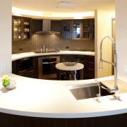 This kitchen with an Asian influence has an countertop, interior design, kitchen, room, white