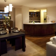 His and hers sensibilities dovetail in this contemporary interior design, living room, lobby, room, brown